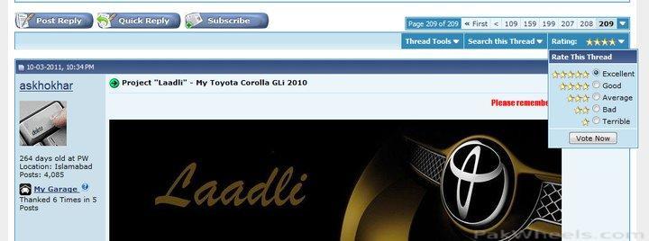 "Project ""Laadli"" - My Toyota Corolla GLi 2010 - 241858"