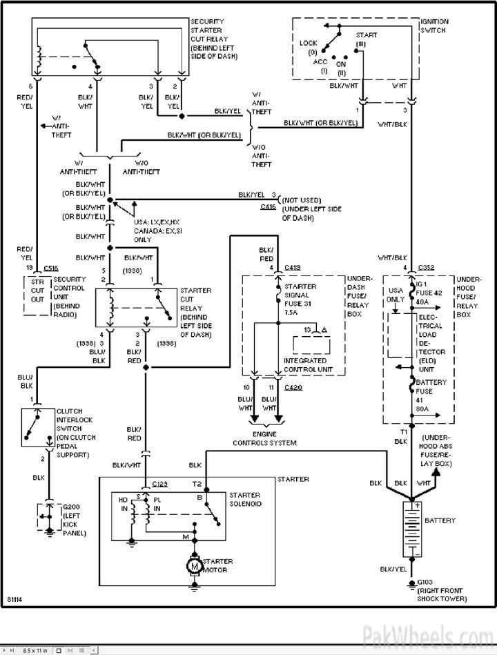 Engine Starting System Wiring Diagram Civic 2002