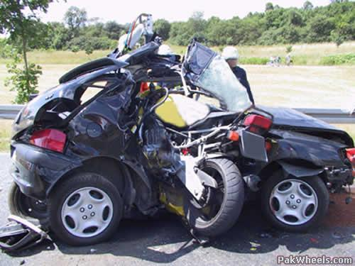 bad car accident. fast bike and slow car accident. bad accident