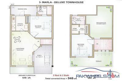 3 Marla House Map 15x45