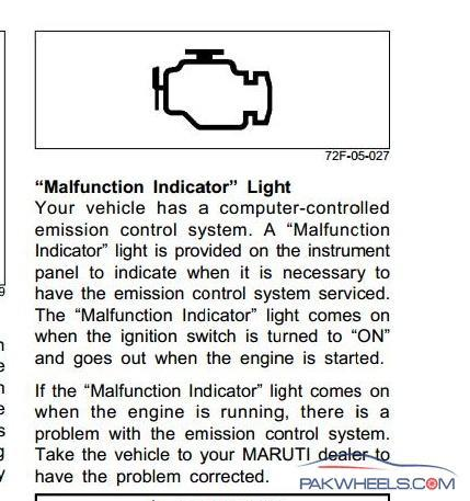 Malfunctioning Of Emission Control System Symble Eared