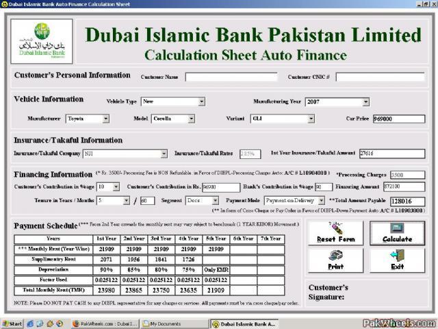 Dubai islamic bank car financing in karachi cars pakwheels forums.