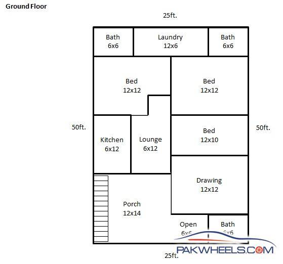 30x60 (non-corner) Ground Floor Layout Plan