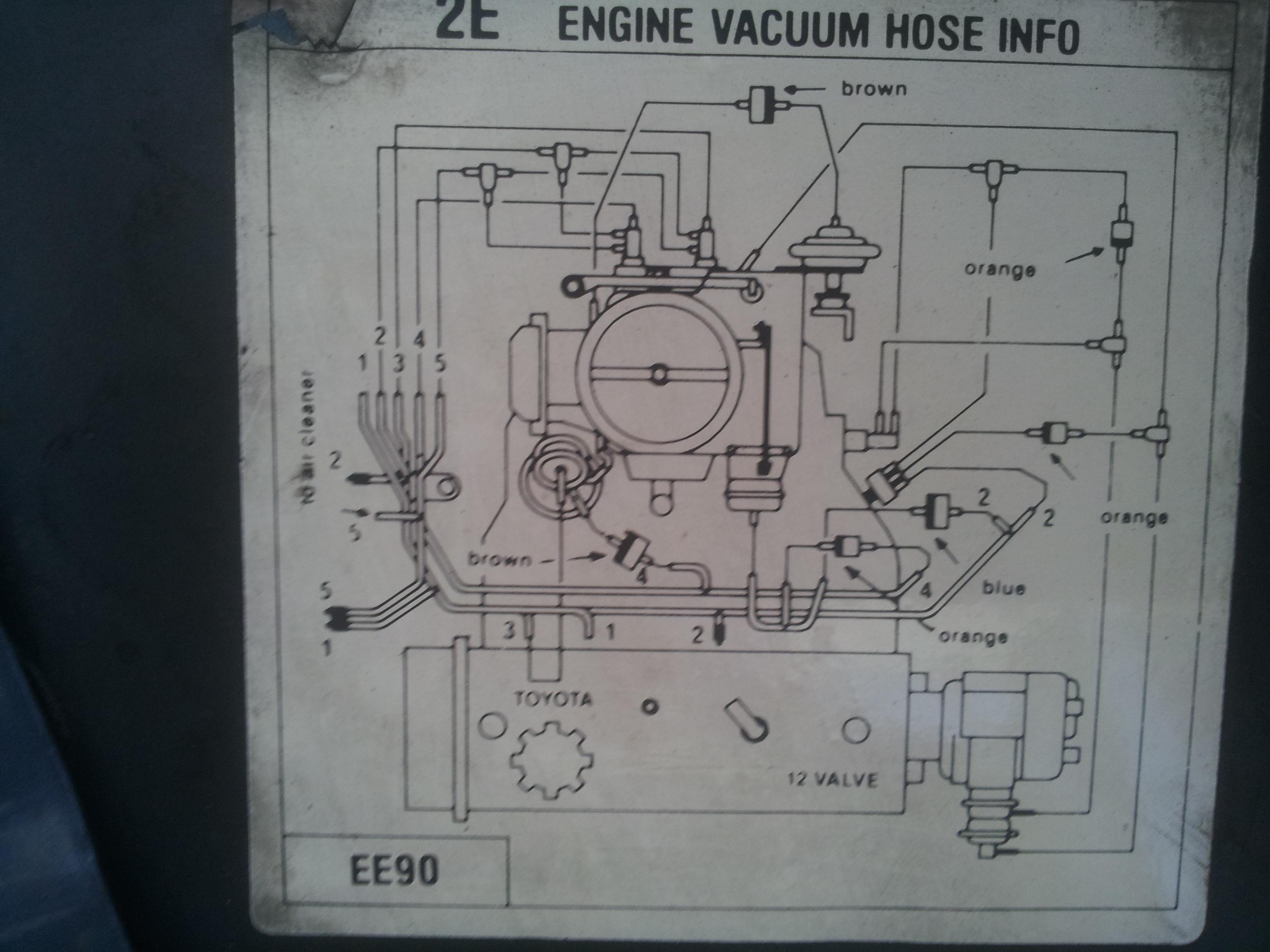 Схема вакуумных соединений двигателей тойота
