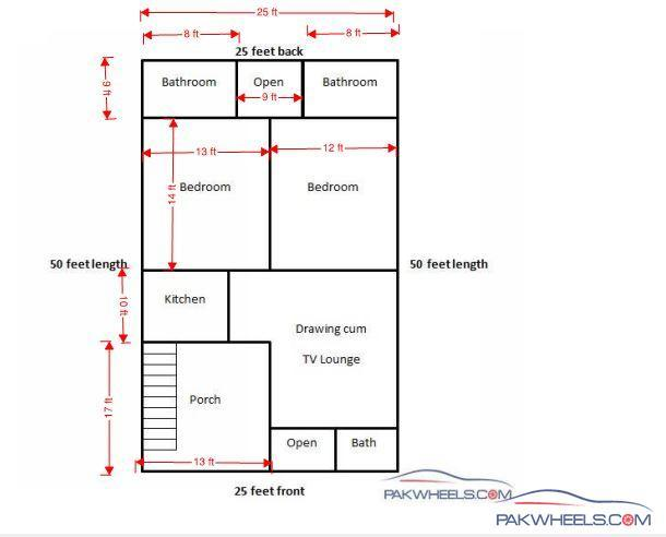 1000 sq foot house bedroom home plans 1000 sq ft double for 25x50 house plan
