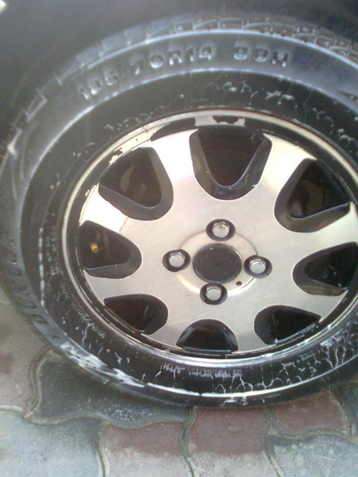 Sprey at distance of 6 inch,you will look a shaving foam like material at your tyres.
