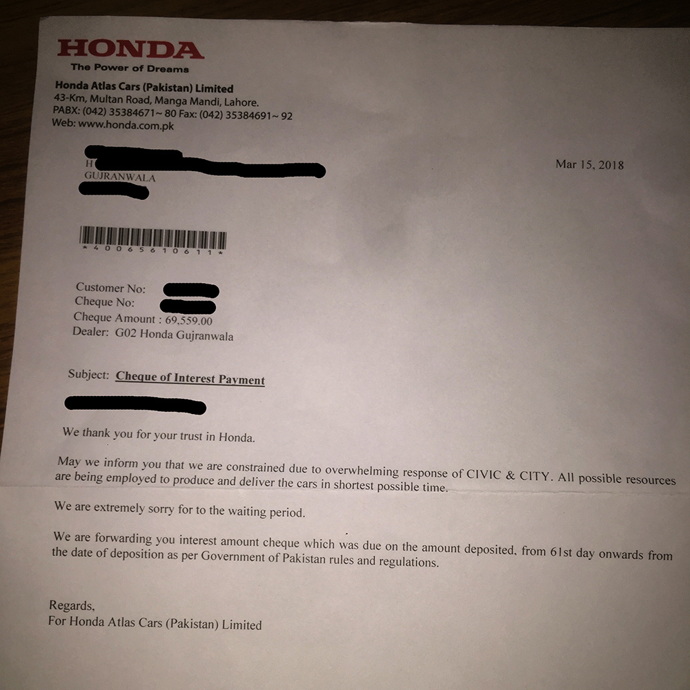 Honda paid compensation cheque of PKR 70,000 due to late delivery