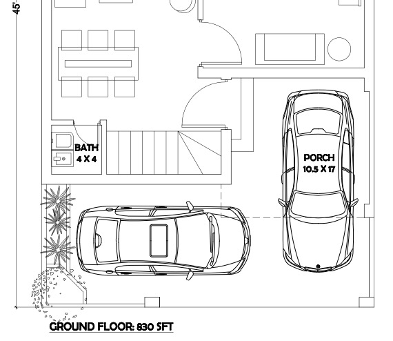 Porch For Two Cars On A 30 X 60